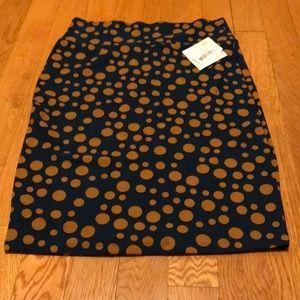 Lularoe Cassie skirt blue and brown polkadots XL